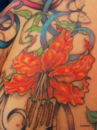 Detailed  red orchid flower tattoo